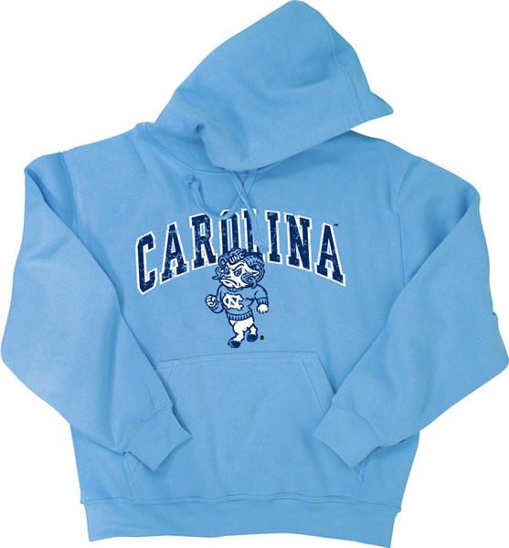 Carolina Blue hood with an arc Carolina over a strutting Rameses.