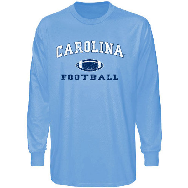 Carolina Blue Long Sleeve Faded Football Tee-