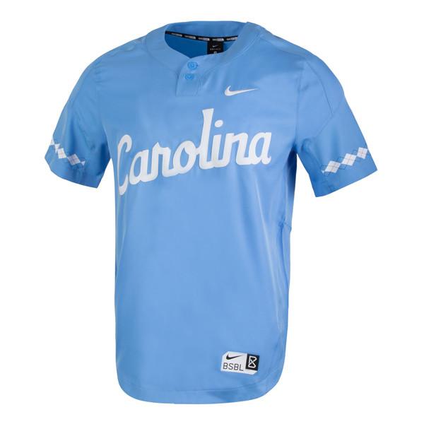 Nike Carolina Baseball 2 Button Jersey - Carolina Blue
