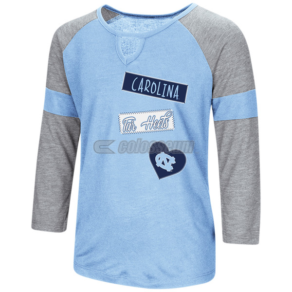 Girls Colosseum V Notch Long Sleeve Tee - Carolina Tar Heels Heart