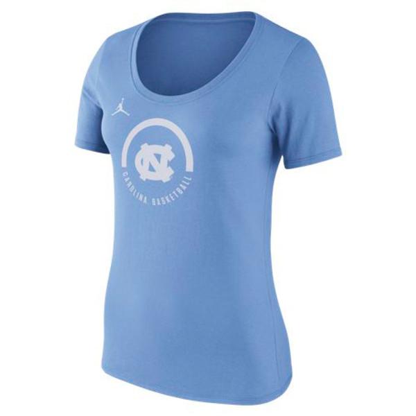 Ladies Nike Jumpman Basketball Verbiage Tee - Carolina Blue