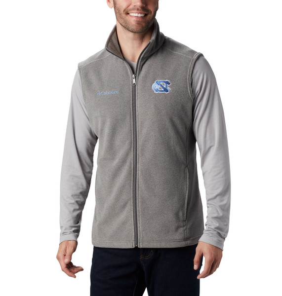 Full zip fleece vest in charcoal gray with embroidered interlocking NC left chest