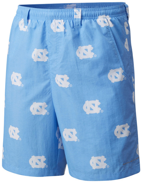 Swim trunk shorts that are Carolina Blue with repeating interlocking NC logos all over.
