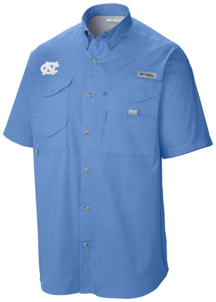short sleeve Carolina Blue full botton sun shirt with interlocking NC on the right chest.