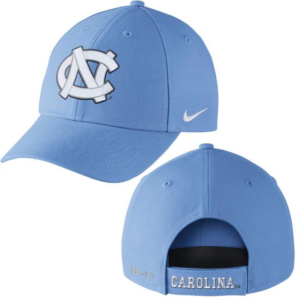Carolina Blue hat with an interlocking NC.