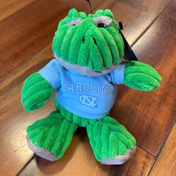 stuffed frog wearing a Carolina tee shirt