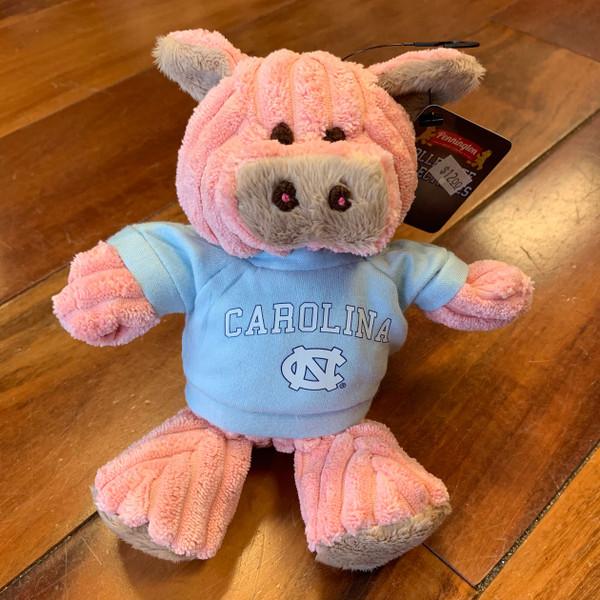 stuffed pig wearing a Carolina tee shirt