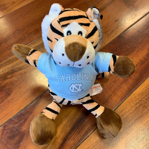 stuffed tiger wearing a Carolina tee shirt
