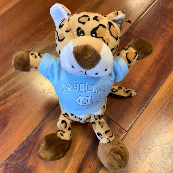 stuffed cheetah wearing a Carolina tee shirt