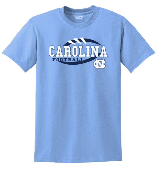 Carolina Blue tee shirt with logo that is stitches and outline of football with lettering Carolina Football and an interlocking NC.