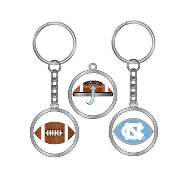 Carolina key chain that is a ring with a football to interlocking NC spinning part in the middle.