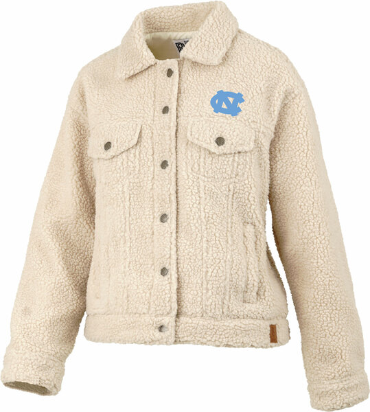 Off white sherpa jacket cut like a jean jacket with an interlocking NC embroidered left chest.