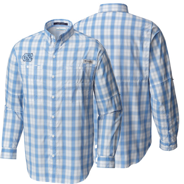 Columbia fishing shirt with Carolina Blue and white plaid.