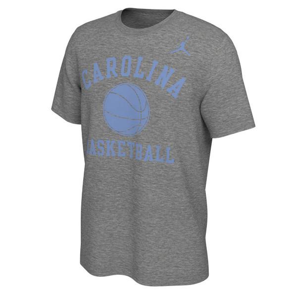 Gray short sleeve tee with a basic Carolina basketball ball icon and Basketball.