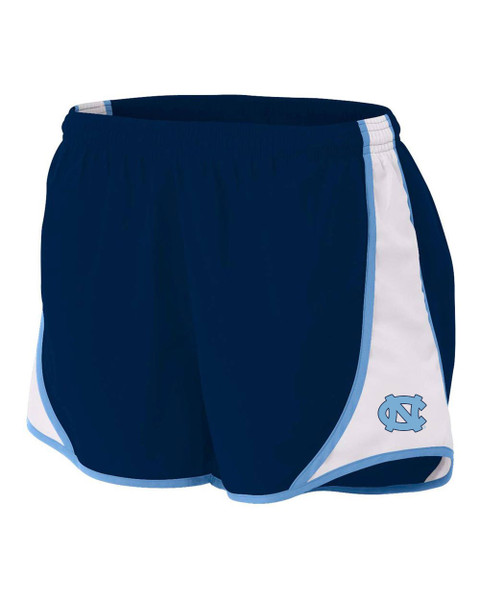 Navy running shorts with left blocking on the sides and an interlocking NC on the left leg.