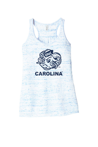 Marbled blue and white tank top with a faded design that is Rameses face and Carolina.