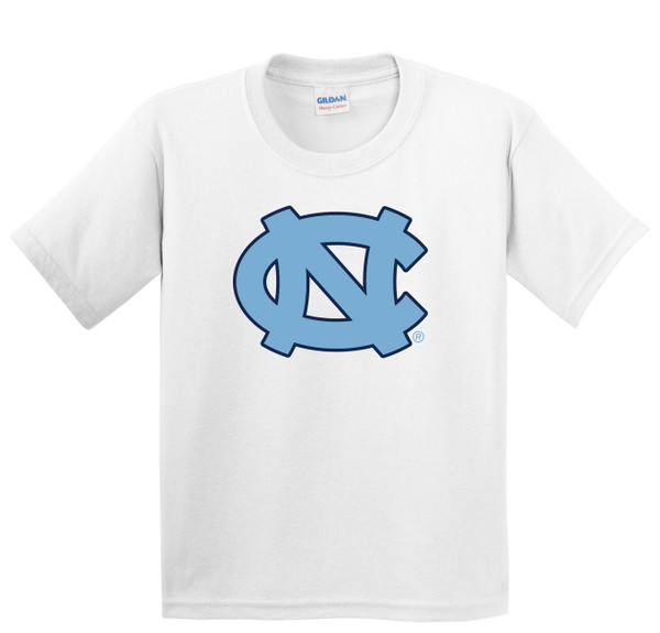 Youth white tee shirt with a big interlocking NC logo.