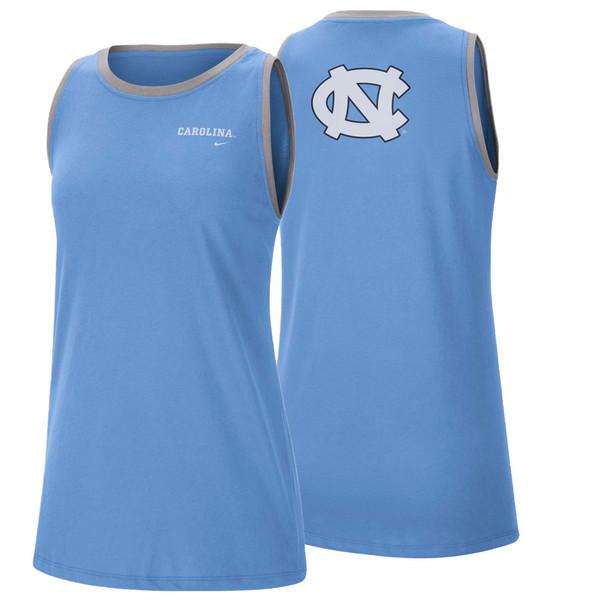 Carolina Blue tank top with left chest interlocking NC and big interlocking NC on the back.
