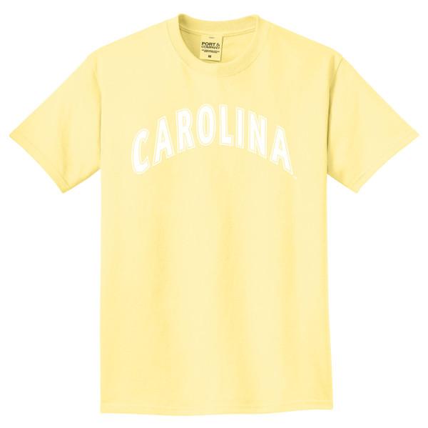 Popcorn yellow tee with white arc Carolina design.