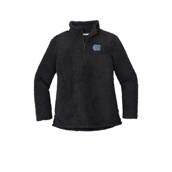 Dark gray 1/4 zip cozy fleece with an embroidered interlocking NC on the left chest.