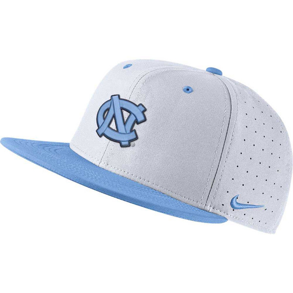 Flatbill fitted hat that has a Carolina Blue bill and a white crown.  It has an embroidered interlock NC on the front.