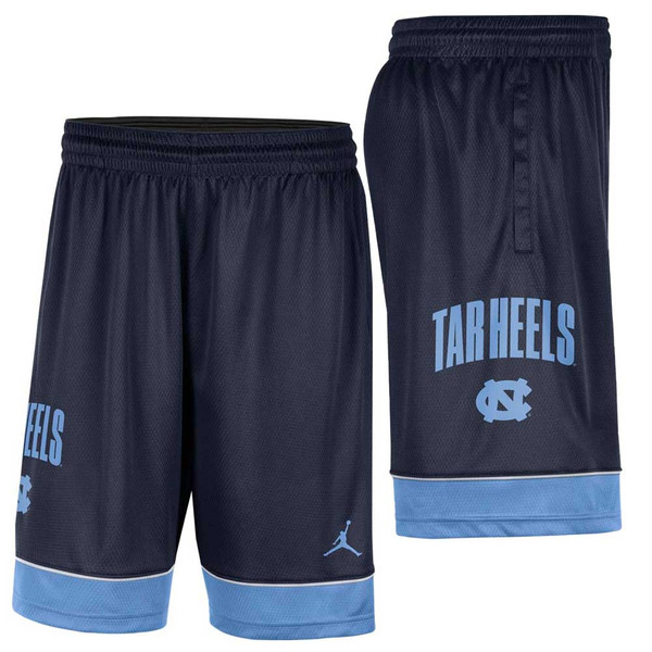 Navy shorts with just the bottom trim as Carolina Blue.  The logo is on the side Tar Heels in an arc over an interlock NC and the other side has the Jumpman.