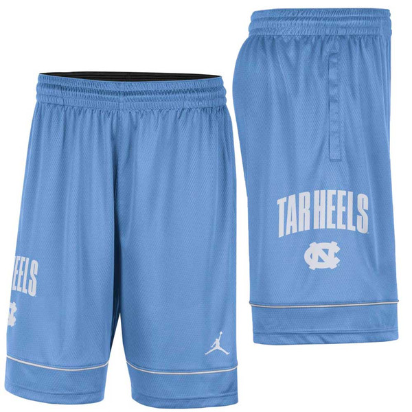 Carolina Blue shorts with piping a few inches above the bottom hem.  The logo is on the side Tar Heels in an arc over an interlock NC and the other side has the Jumpman.