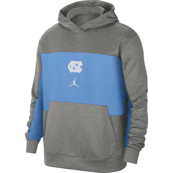Mostly gray sweatshirt with a Carolina Blue band across the center chest and bottom of the sleeves.  The logo is a sewn on patch center chest of the interlock NC over the Jumpman.