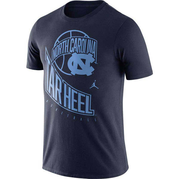Navy tee shirt with a design that is difficult to explain.  It is all printed in Carolina Blue ink - an outline of a basketball with a banner of North Carolina in front of it and an interlocked NC.  Then there is Tar Heel in big letters swooping down the shirt with small letters Basketball underneath and a Jumpman icon in between.