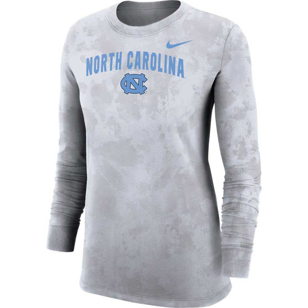 A white camo pattern long sleeve tee with North Carolina in a slight arc over an interlocking NC.