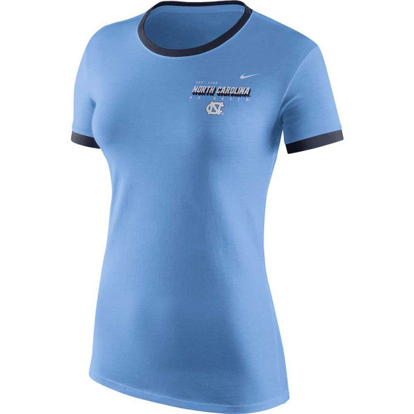 A women's Carolina Blue tee shirt that has navy ringer collar and cuffs.  The decoration is a left chest print with tiny lettering est 1789 over larger North Carolina over tiny GO HEELS and finally an interlocking NC.