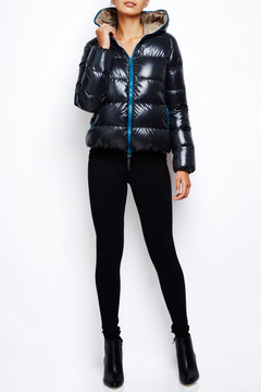 Duvetica Goosedown Puffer Jacket Charcoal Teal 2