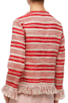 Red Striped Fringe Jacket