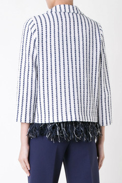 Coohem navy and white stripe tweed
