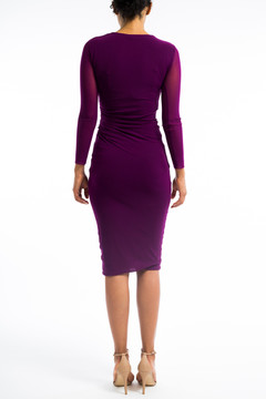 Plum fitted dress with ruching