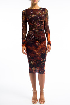 Flying swallows dress with ruching