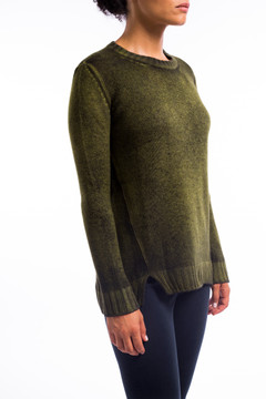 Easy Cashmere Split Vent Sweater Acid Yellow