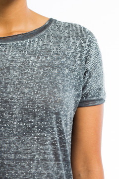 Studded Linen T-Shirt Gray
