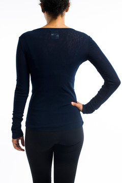 Fitted Navy Boat Neck Tiered Top