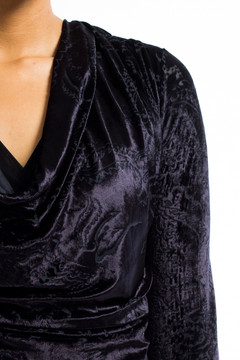 Soft Velvet Cowl Neck Top