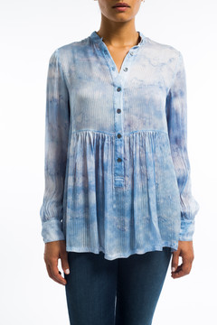 Silk Empire Blouse Tie Dye Blue