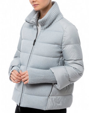 Tonet pale blue down coat with cashmere knit collar