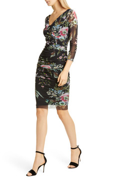 Fuzzi floral bouquet ruched sheath dress