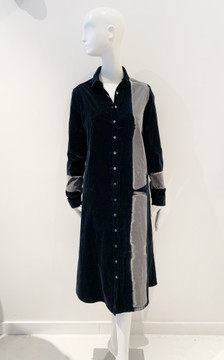Suzusan hand dyed button front long corduroy dress- navy and gray