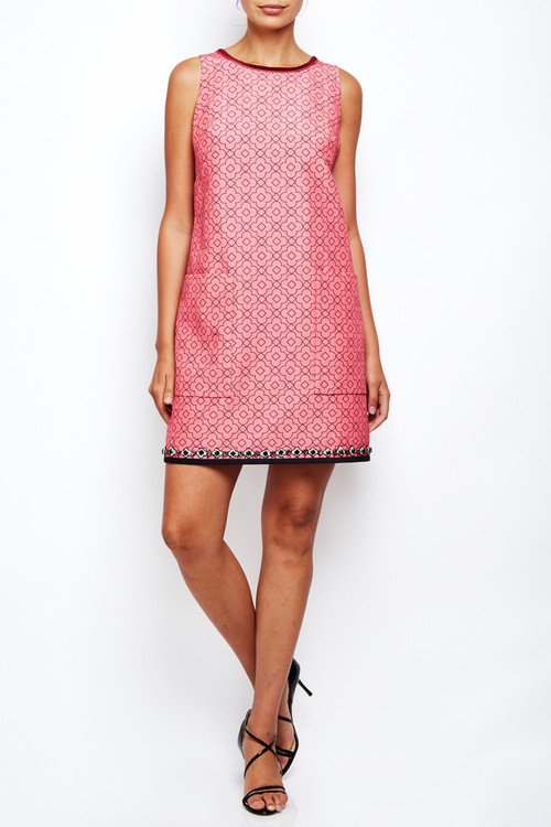 Aquilano Rimondi Silk Print Jewel Hemmed Dress