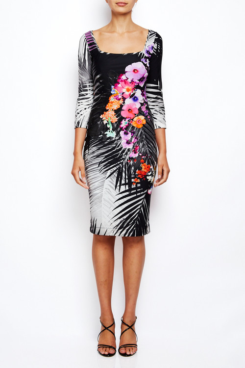 Fuzzi Floral Lycra Palm Dress