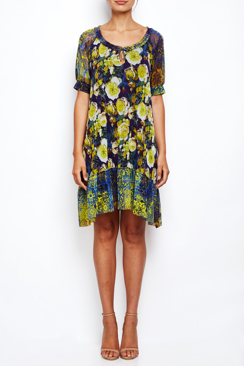 Fuzzi Floral Tulle Ruffle Hem Dress