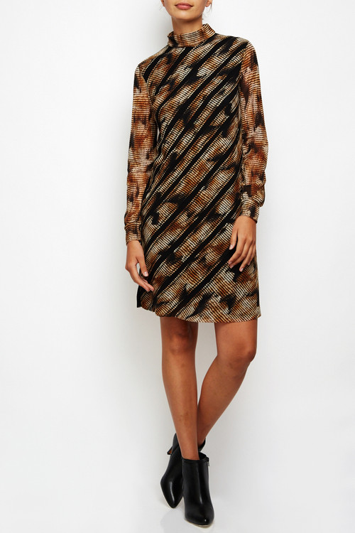 Fuzzi Long-sleeved Turtleneck Shift Dress
