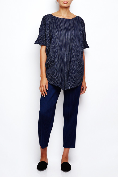Issey Miyake Pleats Please Japan Stripe Tunic Navy