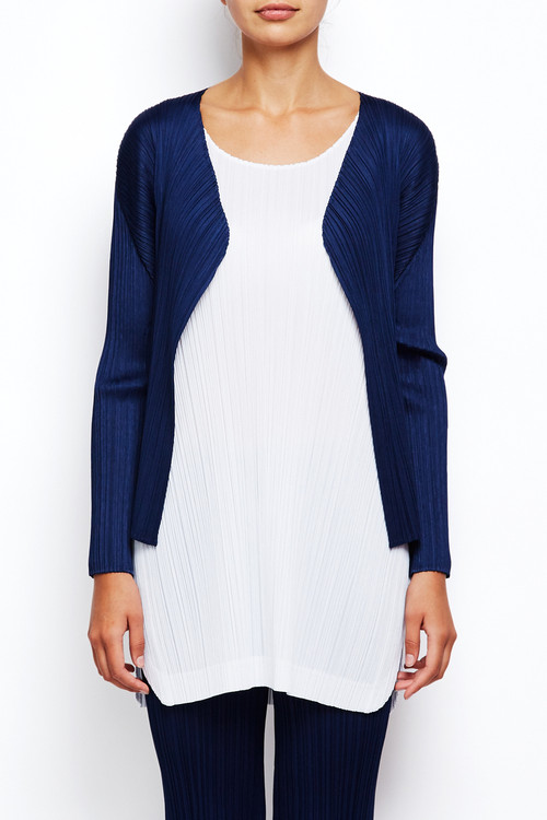 Pleats Short Navy Cardigan